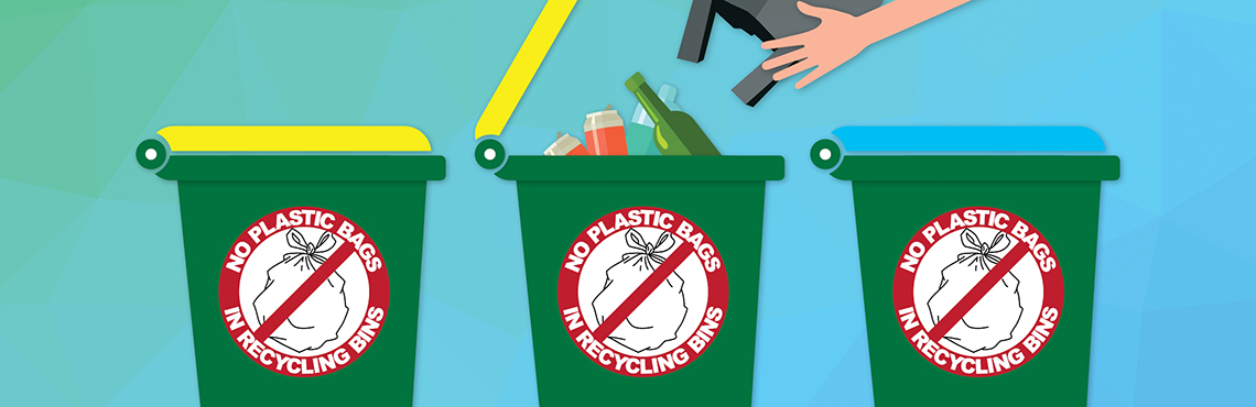 No plastic bags in recycling bins graphics